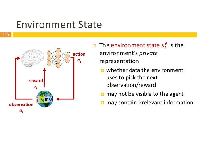 140 observation ot action at reward rt Agent State  The agent state 𝑠𝑡 𝑎 is the agent's internal representation  whether...