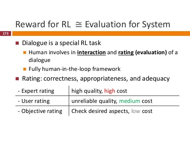 174 Dialogue Reinforcement Learning Signal Typical reward function  -1 for per turn penalty  Large reward at completion ...