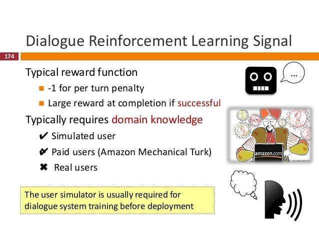 175 RL-Based Dialogue Management (Li et al., 2017)  Deep RL for training dialogue policy  Input: current semantic frame ...