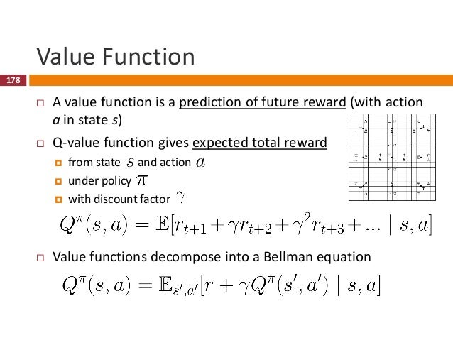 179 Optimal Value Function  An optimal value function  is the maximum achievable value  allows us to act optimally  in...