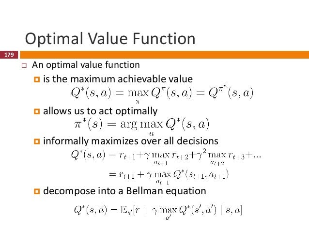 180 Reinforcement Learning Approach  Policy-based RL  Search directly for optimal policy  Value-based RL  Estimate the...