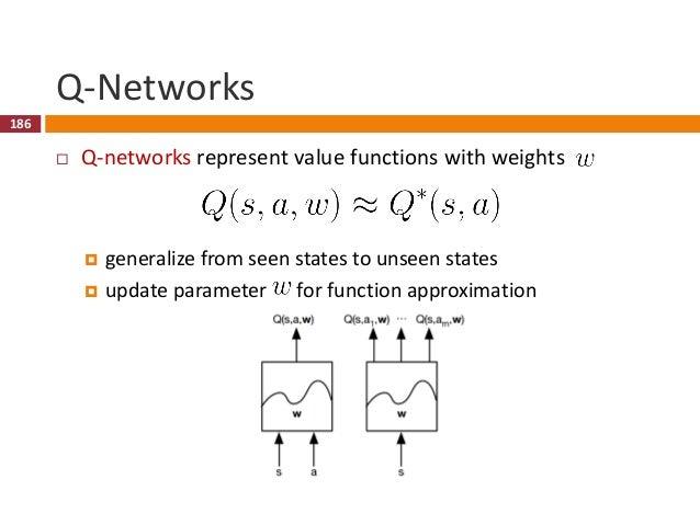 187 Q-Learning  Goal: estimate optimal Q-values  Optimal Q-values obey a Bellman equation  Value iteration algorithms s...
