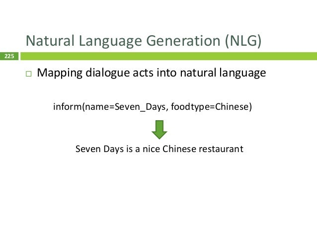226 Template-Based NLG  Define a set of rules to map frames to NL 226 Pros: simple, error-free, easy to control Cons: tim...