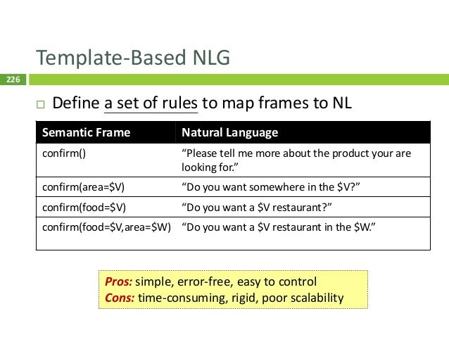 227 Class-Based LM NLG (Oh and Rudnicky, 2000)  Class-based language modeling  NLG by decoding 227 Pros: easy to impleme...