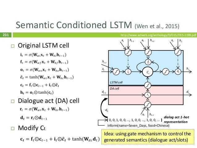 232 Structural NLG (Dušek and Jurčíček, 2016)  Goal: NLG based on the syntax tree  Encode trees as sequences  Seq2Seq m...