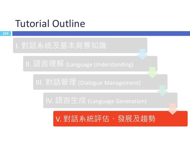 240 Outline  Dialogue System Evaluation  Recent Trends  End-to-End Learning for Dialogue System  Multimodality  Dialo...