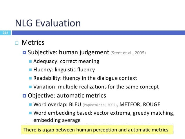 243 Dialogue Evaluation Measures 243 •Whether constrained values specified by users can be understood by the system •Agree...