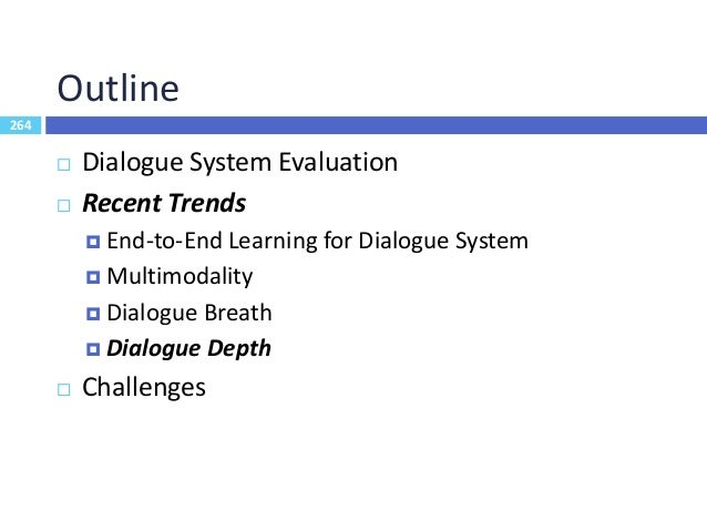 265 Evolution Roadmap 265 Knowledge based system Common sense system Empathetic systems Dialogue breadth (coverage) Dialog...