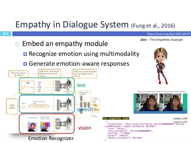 268 Outline  Dialogue System Evaluation  Recent Trends  End-to-End Learning for Dialogue System  Multimodality  Dialo...