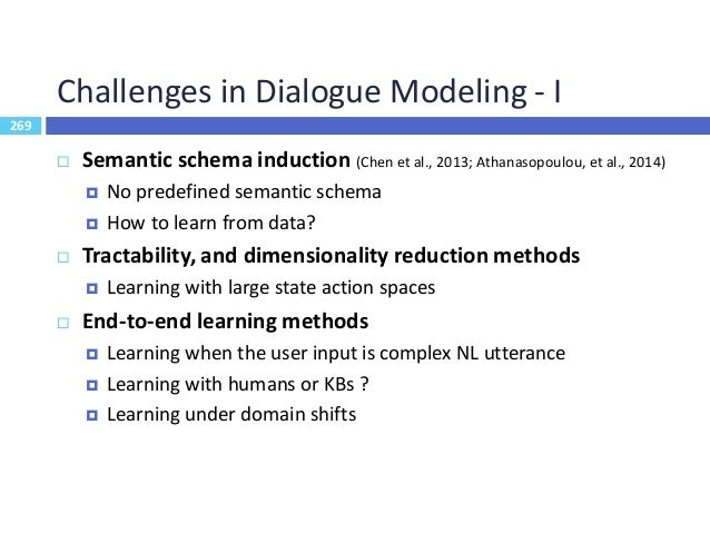 270 Challenges in Dialogue Modeling - II 270  Multiple-State hypothesis  Tracking a distribution over multiple dialog st...