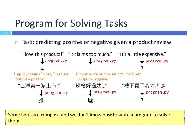 """34 Learning ≈ Looking for a Function  Task: predicting positive or negative given a product review 34 """"I love this produc..."""