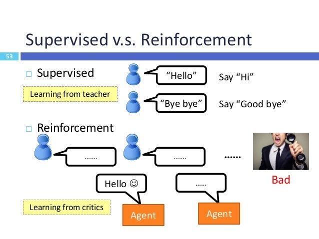 54 Supervised v.s. Reinforcement  Supervised Learning  Training based on supervisor/label/annotation  Feedback is insta...