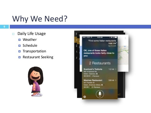10 Why We Need?  Get things done  E.g. set up alarm/reminder, take note  Easy access to structured data, services and a...