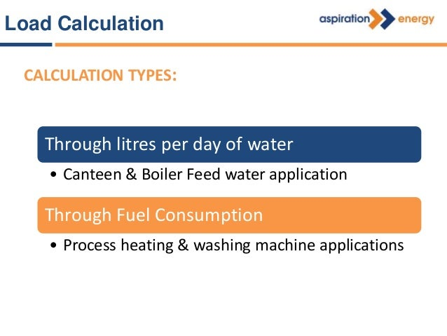 Through Litres per day of Water Q = m x Cp x ΔT Canteen & Boiler feed application Q = Energy required (kW) m = Mass flow o...