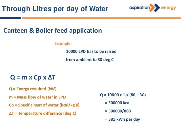 Through Litres per day of Water LOAD ESTIMATION FOR HEAT PUMP SYSTEM Effective working hours = 16 - 18 hours per Day Heat ...