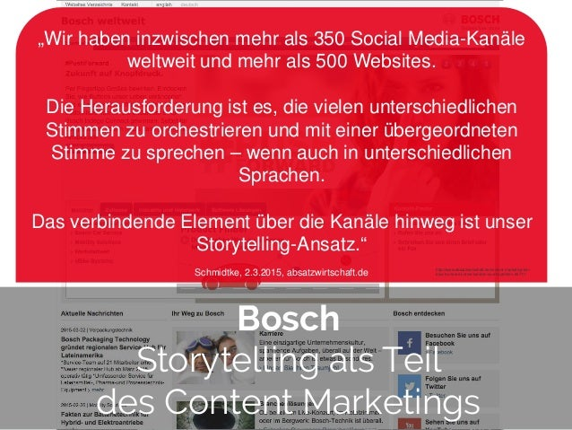 """© 2014 Gnocchi Digital Marketing Bosch Storytelling als Teil des Content Marketings """"Wir haben inzwischen mehr als 350 Soc..."""