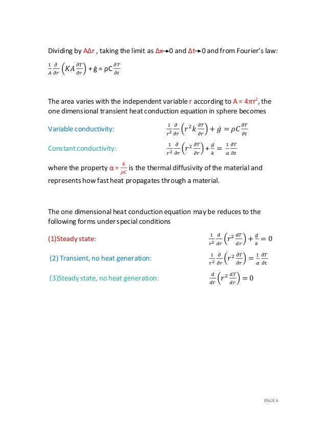 One dimensional heat conduction equation
