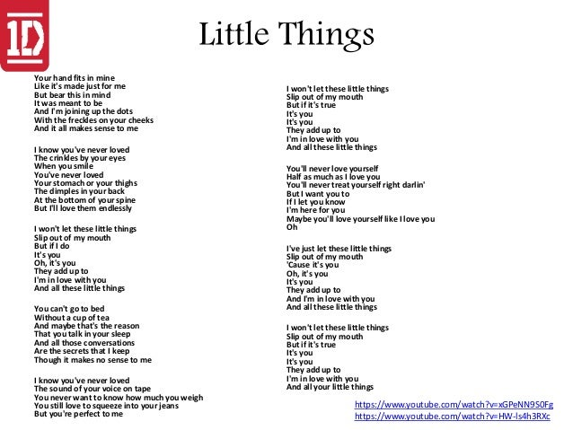 One direction lyrics little things