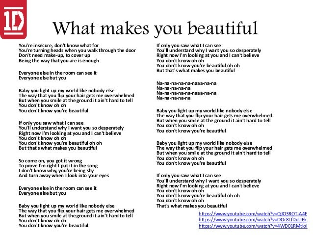 How Beautiful You Are Lyrics One Direction