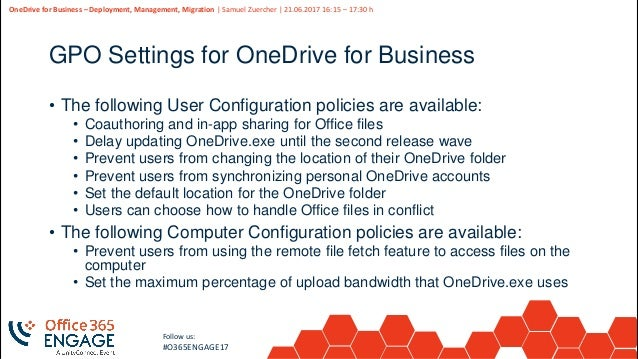 O365Engage17 - One drive for business deploy, manage, migrate