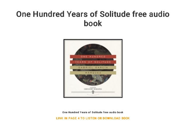 One hundred years of solitude free audiobook