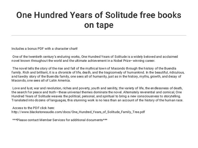 100 years of solitude free