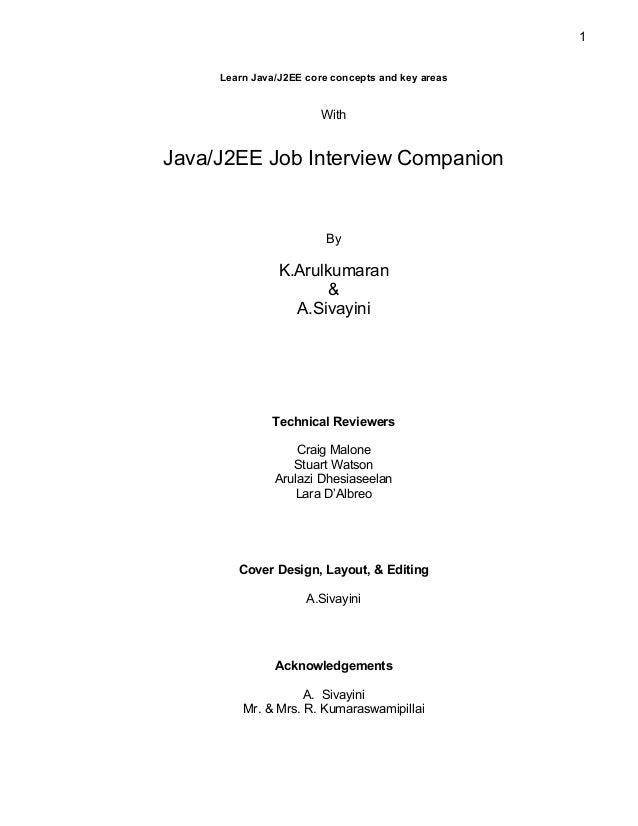 1     Learn Java/J2EE core concepts and key areas                        WithJava/J2EE Job Interview Companion            ...