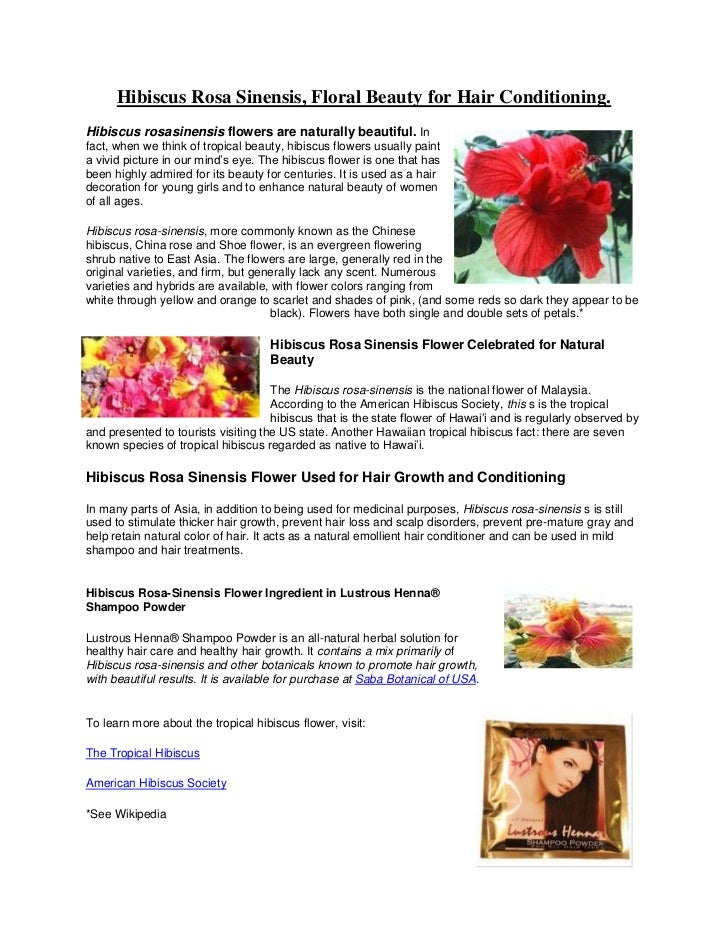 Hibiscus Rosa Sinensis Floral Beauty For Hair Conditioning