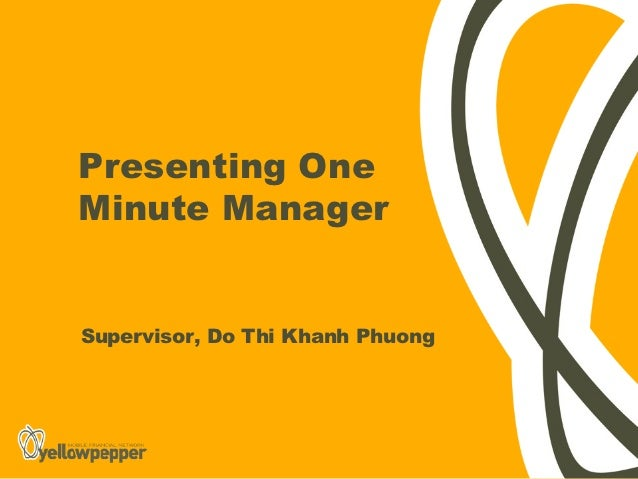 Presenting OneMinute ManagerSupervisor, Do Thi Khanh Phuong