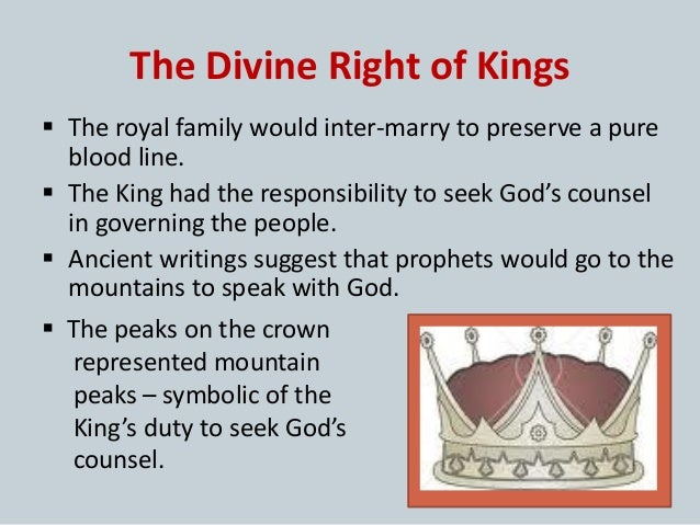 divine rights of kings This article considers james vi and i's treatise on the divine right of kings, the  trew law of free monarchies (1598), in relation to his earlier.