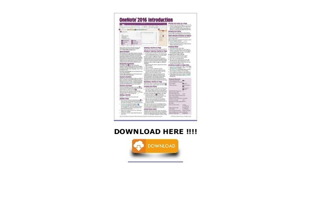 OneNote 2016 Introduction Quick Reference Guide - Windows Version (Ch…