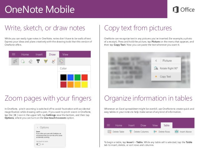 Drawing Lines In Onenote : Microsoft onenote mobile quick start guide