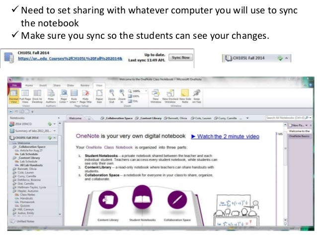 OneNote Online Notebooks in Chemical Principles I Lab