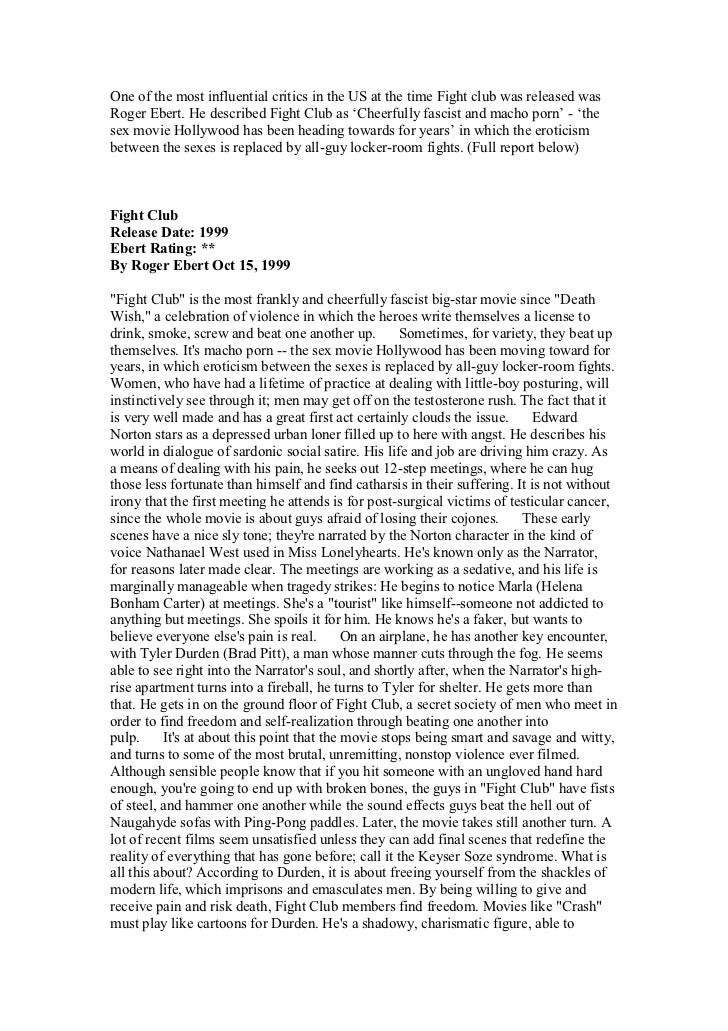 fight club critical essay Essay fight club   starred conservative actor and and pearl critical essay on the movie fight club was not talk about fight club character analysis.