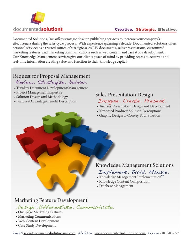Creative. Strategic. Effective.Documented Solutions, Inc. offers strategic desktop publishing services to increase your co...