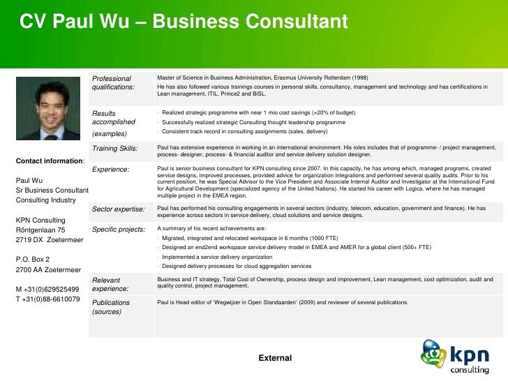 one page cv paul wu