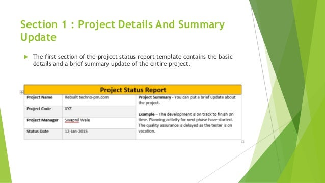 One page effective project status report – One Page Summary Template