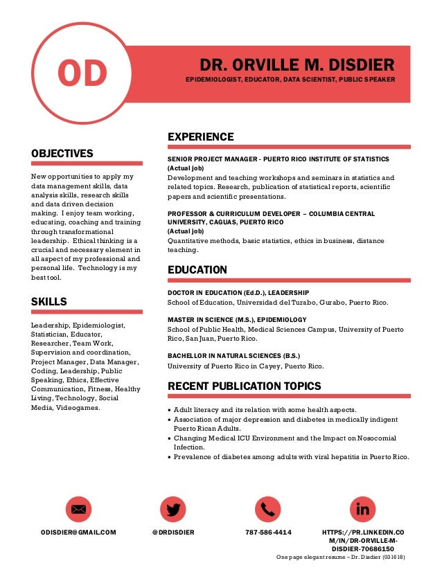 One Page Resume - Dr. Disdier