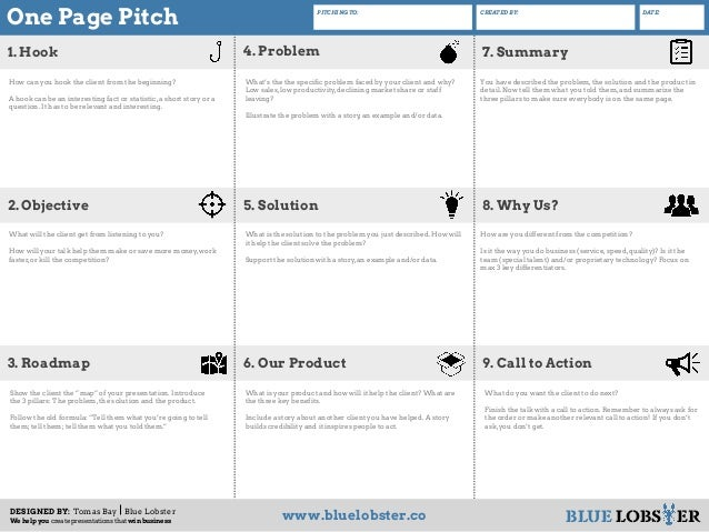 one page business pitch template - Boat.jeremyeaton.co