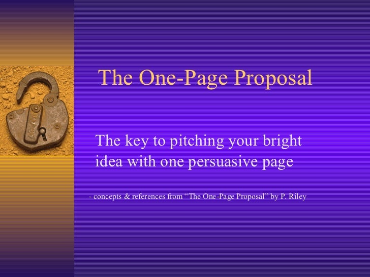 The one page proposal flashek Gallery