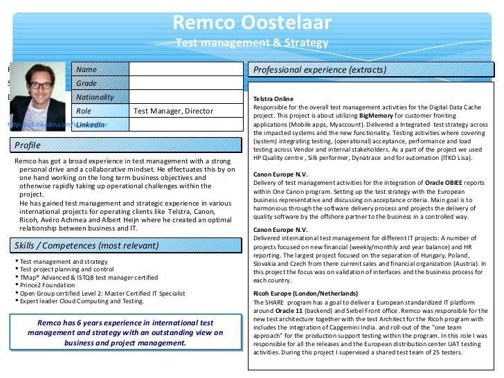 one pager resume remco oostelaar
