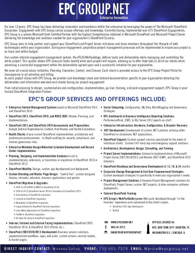 For over 13 years, EPC Group has been delivering innovation and excellence within the enterprise by leveraging the power o...