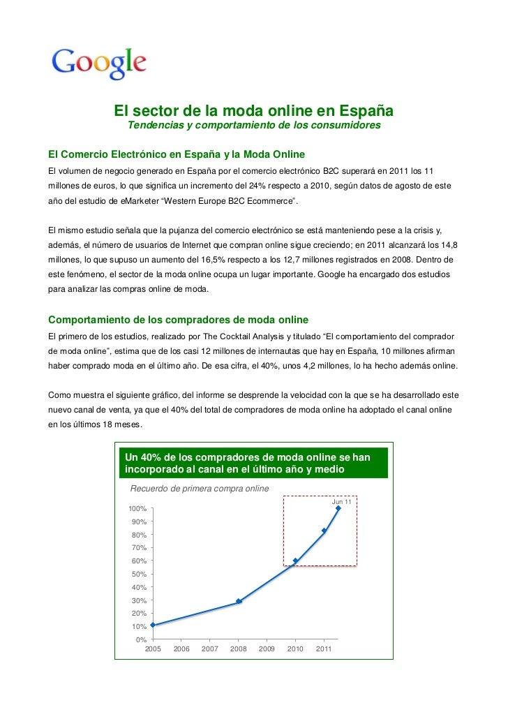 El sector de la moda online en España                    Tendencias y comportamiento de los consumidoresEl Comercio Electr...