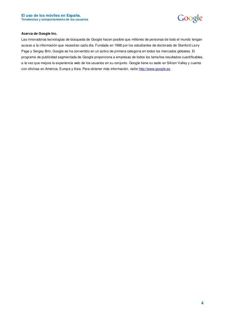 El uso de los móviles en España.Tendencias y comportamiento de los usuariosAcerca de Google Inc.Las innovadoras tecnología...