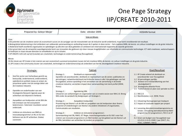 One Page Strategy IIP/CREATE 2010-2011 <ul><li>Geef de sector een herkenbaar gezicht op bestuurlijk, ondernemend, onderzoe...