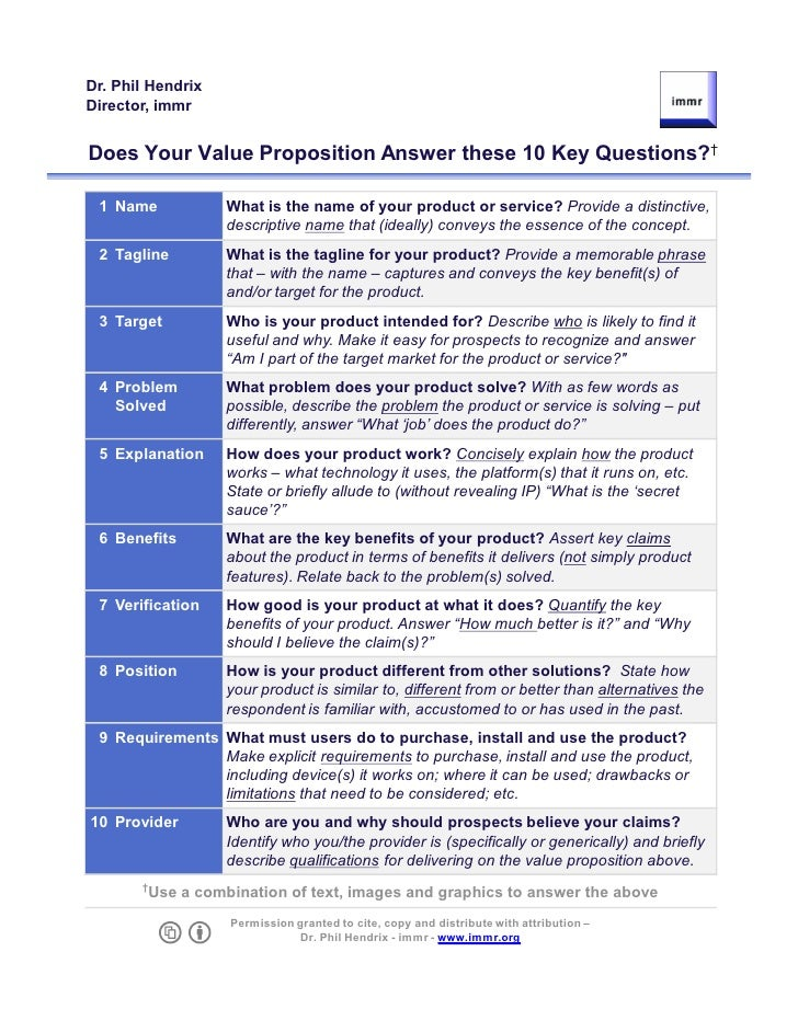 Dr. Phil Hendrix Director, immr   Does Your Value Proposition Answer these 10 Key Questions?†   1 Name            What is ...