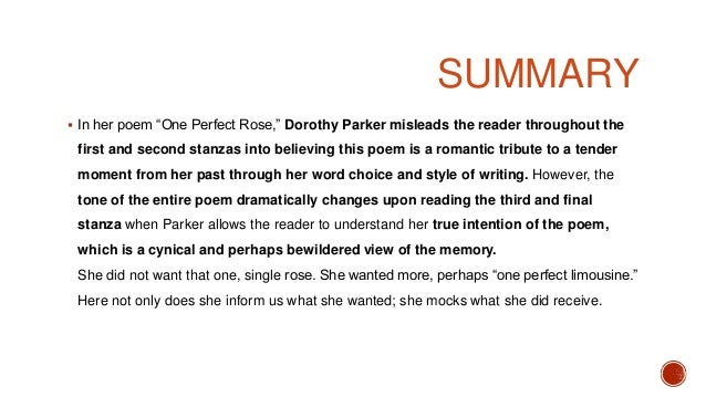 One Perfect Rose by Dorothy Parker