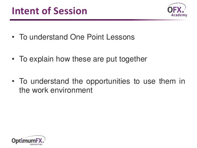 one point lesson template