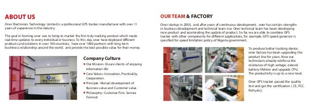 ABOUT US Company Culture OUR TEAM & FACTORY Oner Electronics Technology Limited is a professional GPS tracker manufacturer...