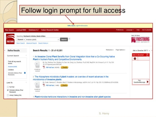 OneSearch Article Access at Frostburg State Univ.: Off-Campus Access Slide 3